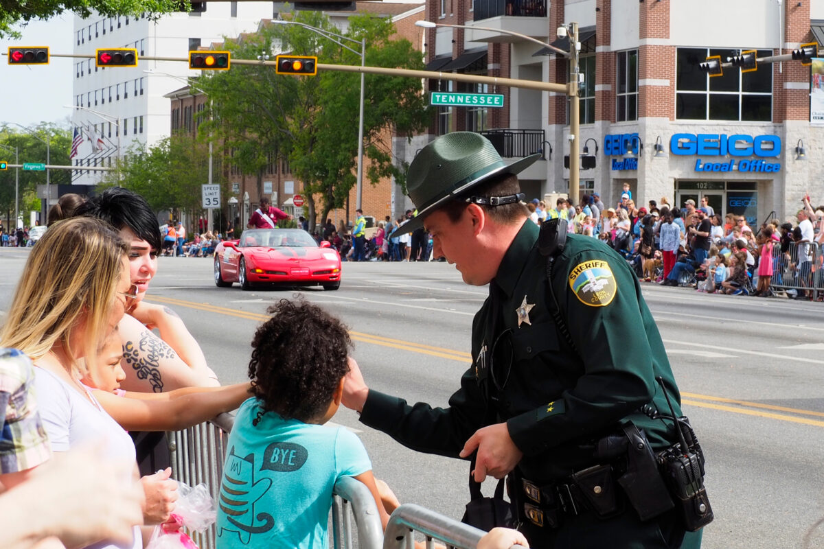 police officer interacting